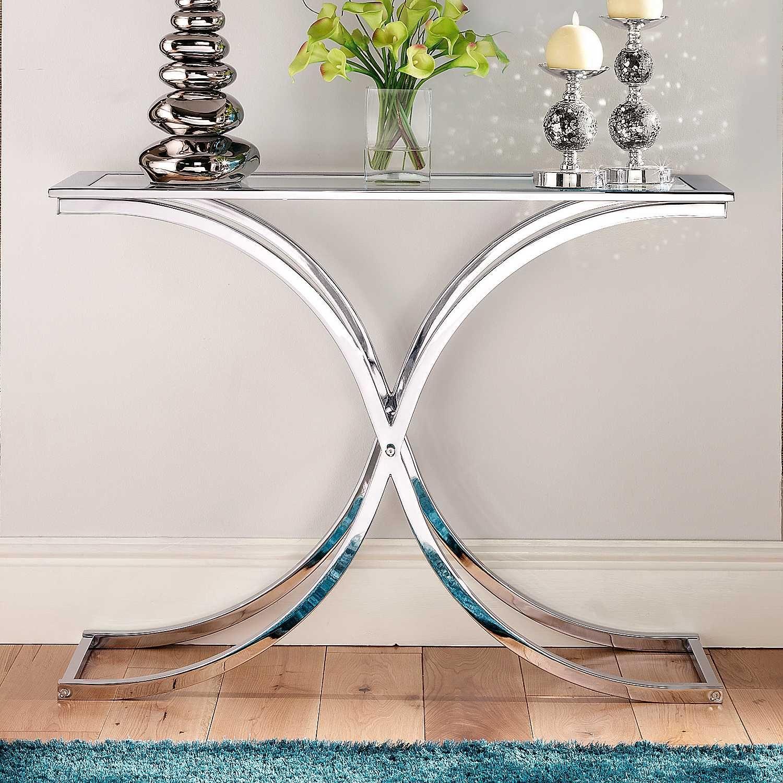 Houston Glass Chrome Console Table Moveis De Metal Decoracao