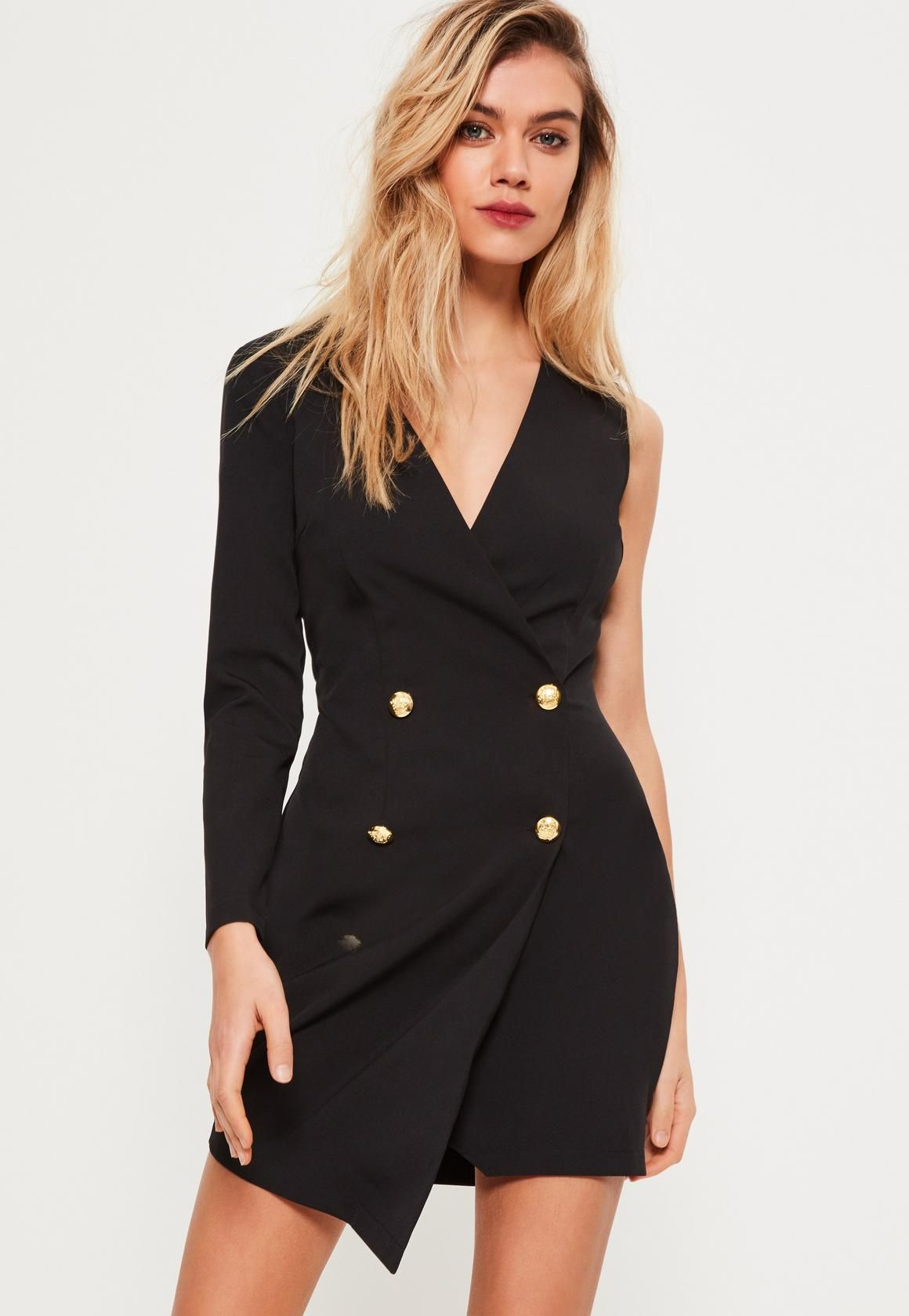 Missguided - Petite Black One Sleeve Tuxedo Dress  c32492d26
