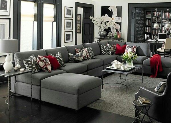 Love The Color Combo Grey Red White Walls Living Room Living Room Grey Living Room White