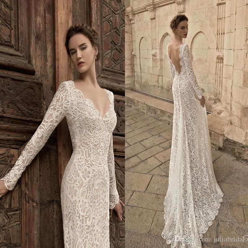 Vintage long sleeve lace wedding dresses 2015 plunging for Vintage lace wedding dress open back