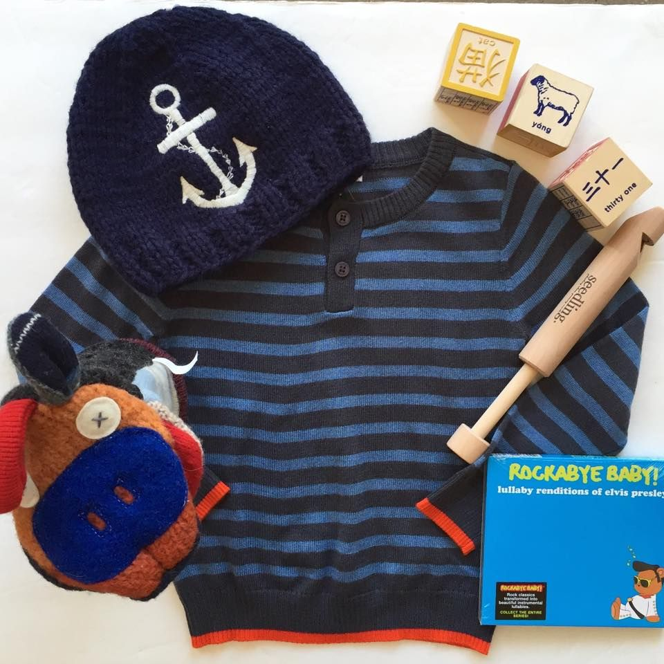 #stripped #sweater #beanie #nautical #anchor #slidewhistle #wooden #puppet #wool #blocks #Chinese #rockabyebaby #cds #lullaby #elvis