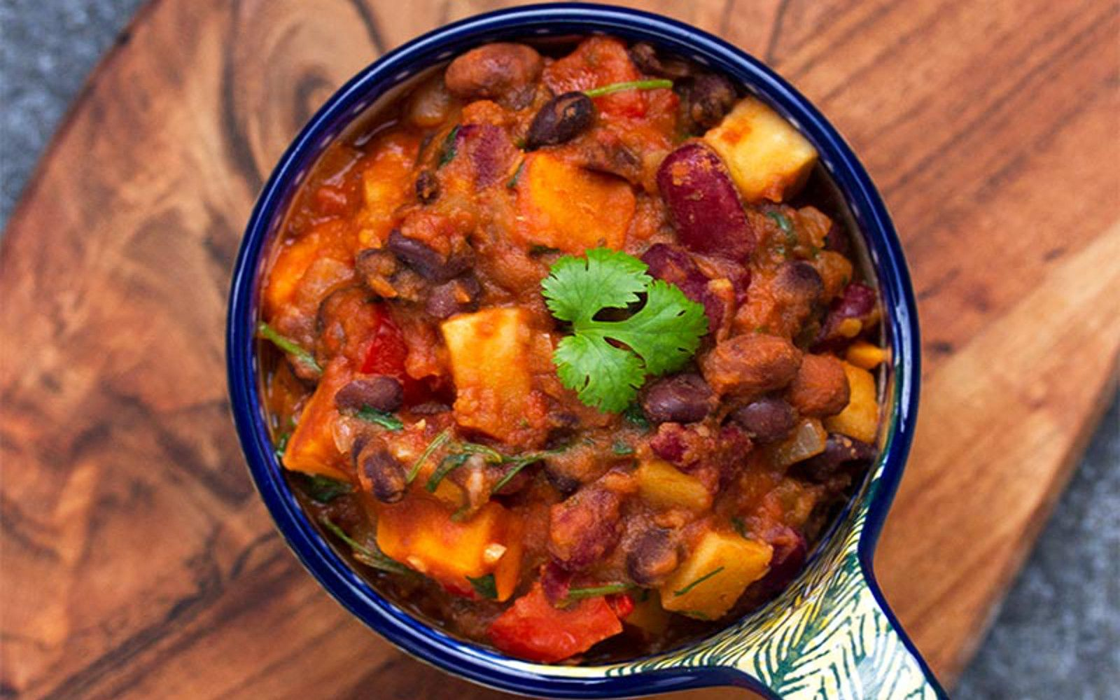 This smoky, spicy chili has just a hint of sweetness thanks to the sweet potatoes. Serve this with crunchy tortilla chips or cool and creamy guacamole!