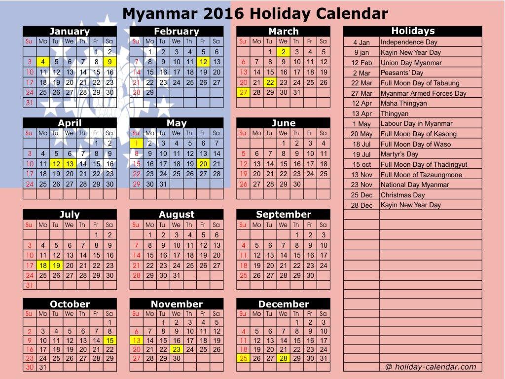 Myanmar 2019 2020 Holiday Calendar Holiday Calendar National