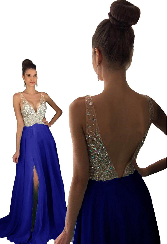4385bdcf3ac HEAR Women s V Neck Long Prom Dresses Backless Party Evening Dress Hear051  Royal Blue 16 at