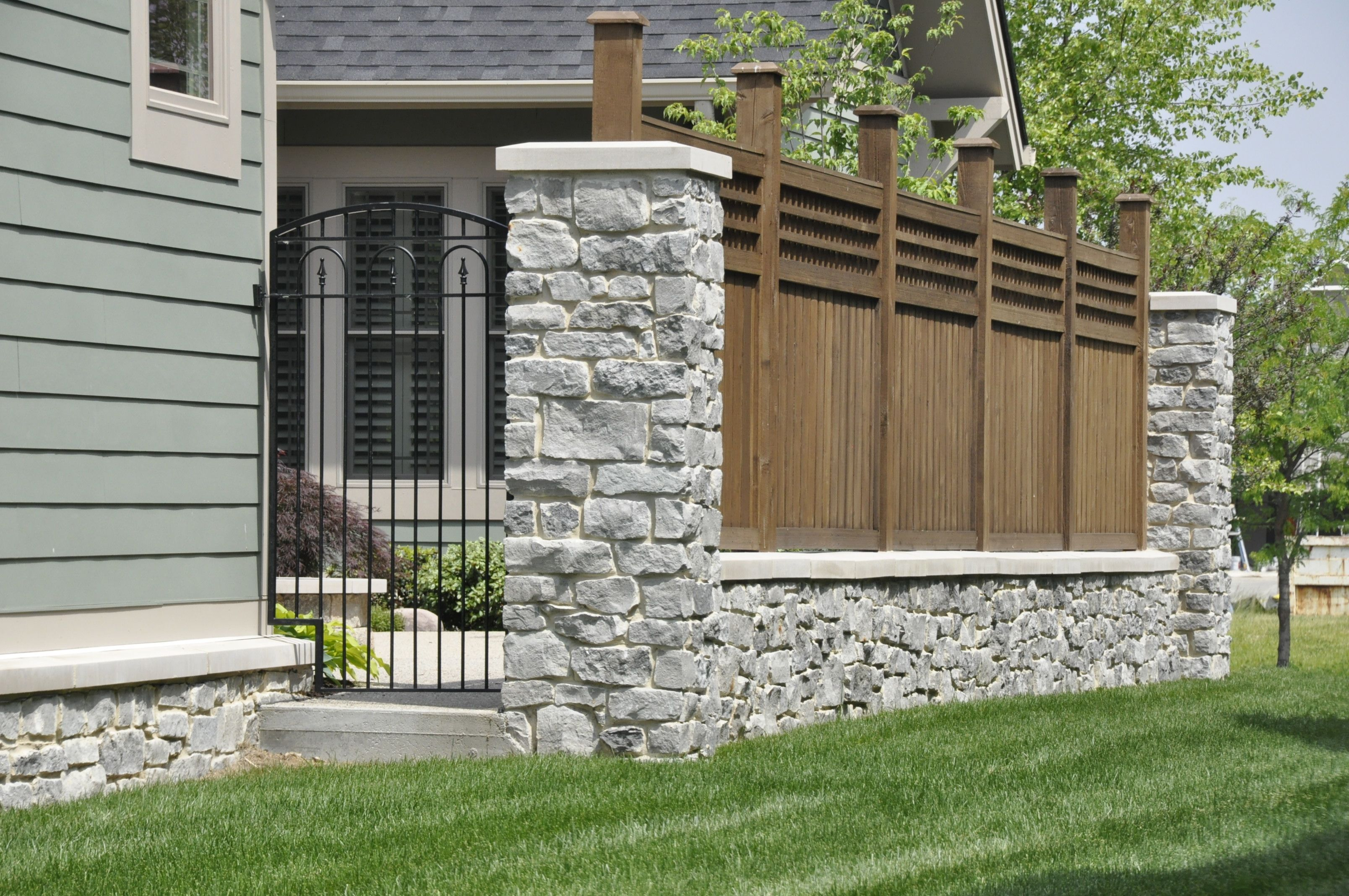 Buckley Fence with stone columns | Exterior | Pinterest ... |Stone And Wood Fence
