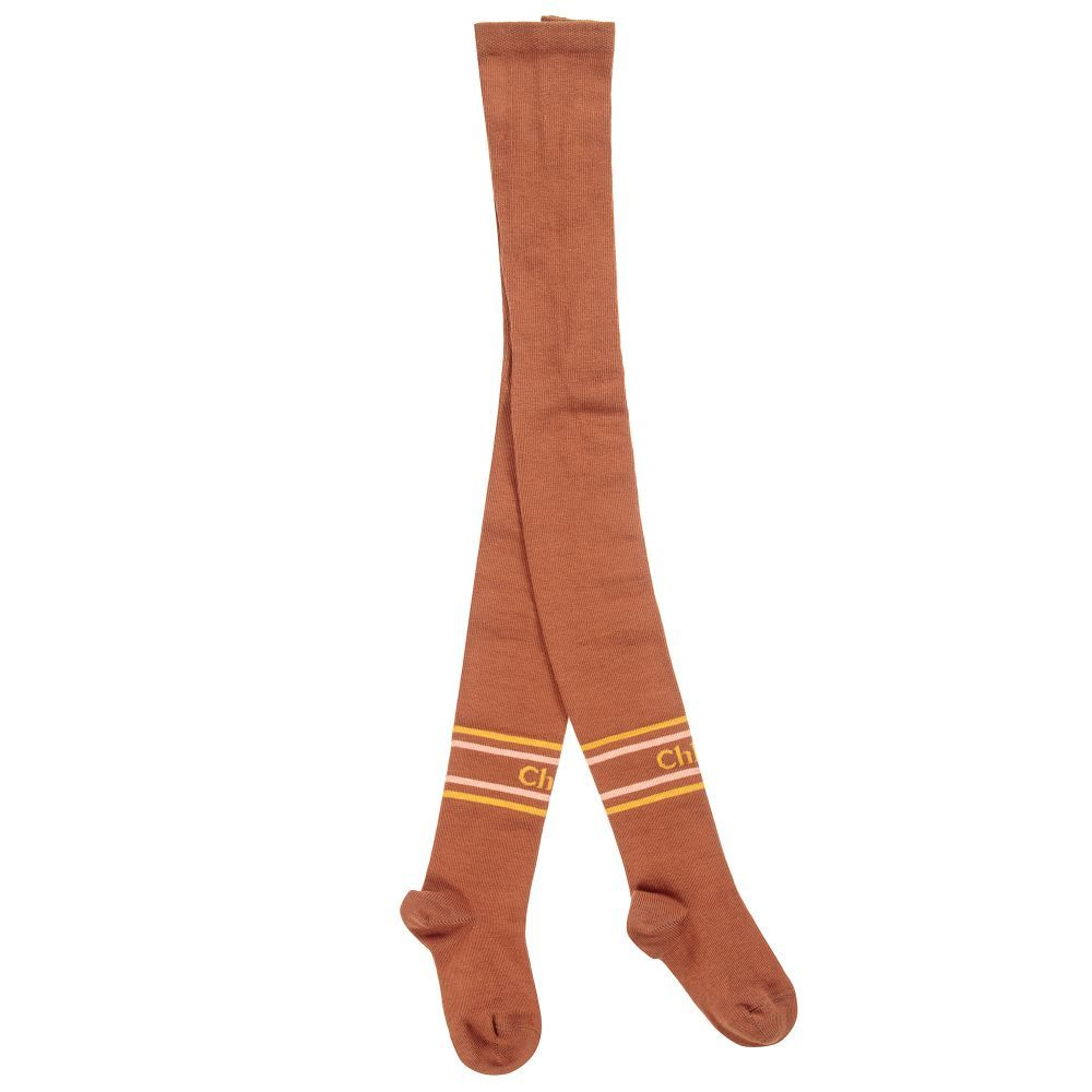 f1b3e08e6 Girls brown cotton tights by Chloé. Soft