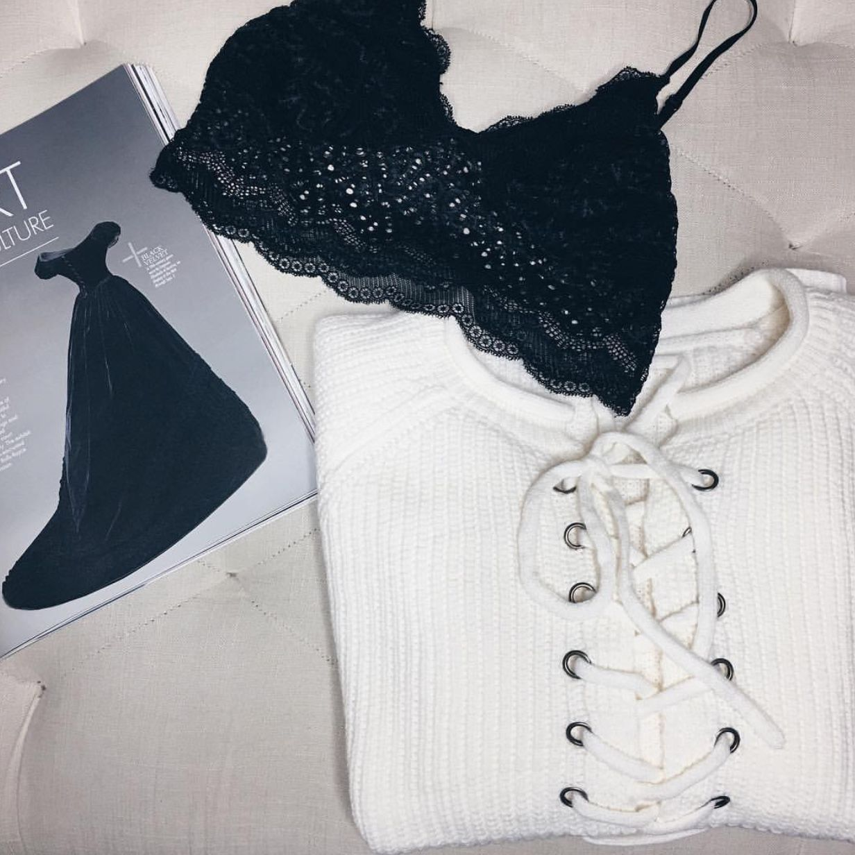 Yours Always Sweater x Oh My Lace Bralette #sweaters #bralettes #boutique #fashion