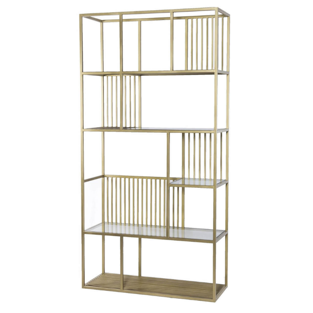 Cage Regency Brass and Glass Shelf Bookcase Etagere 42
