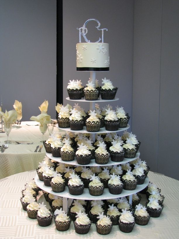 Love The Cupcake Tower Monogram Topper And A Layer For Cake Cutting Maybe Add Another Tier Anniversary Though