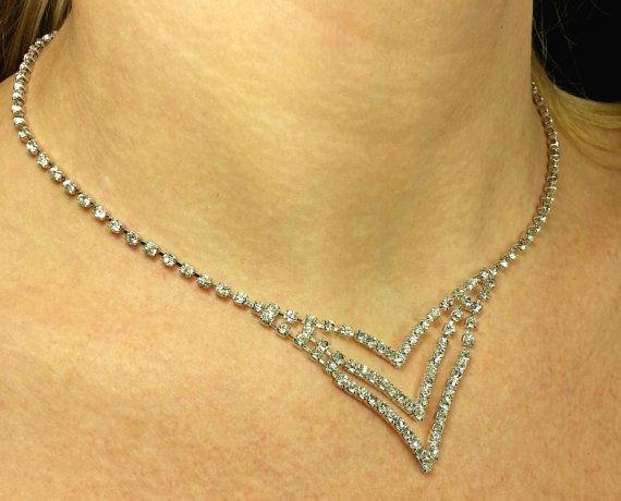 Vintage sparkly rhinestone necklace, silver tone choker, dangling v-shape design, ADJUSTABLE, by SwankyDameVintage