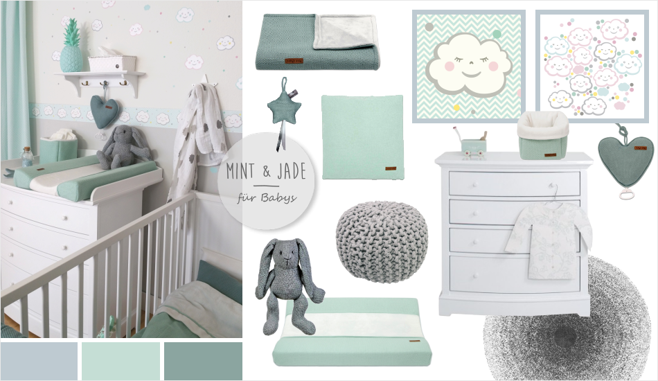 babyzimmer mit wolken in grau mint jade kinderzimmer. Black Bedroom Furniture Sets. Home Design Ideas