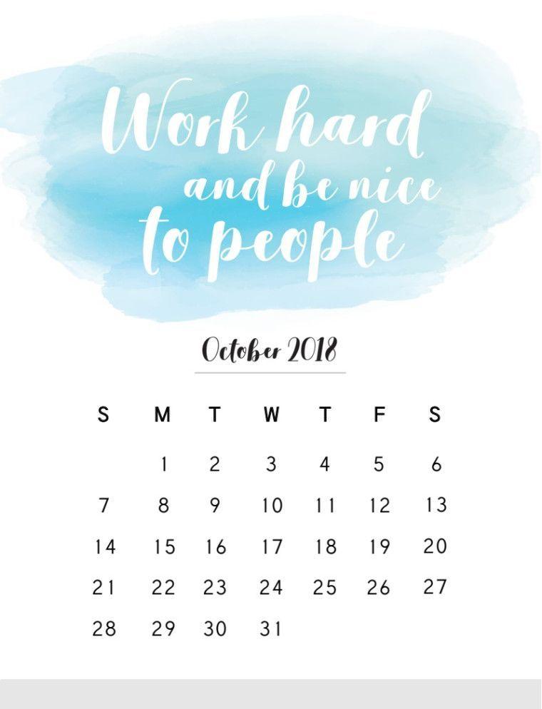 October 2018 Quotes Calendar Inspirational Quotes Calendar