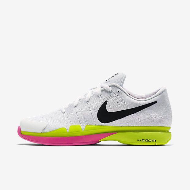 Nike Zoom Vapor Flyknit Mens Tennis Shoes 9 White Volt Pink 845797 007  Federer