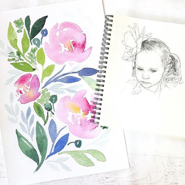 Watercolor floral watercolor giveaway print painting and pencil sketch Natalie Malan David Malan painting book kickstarter diy