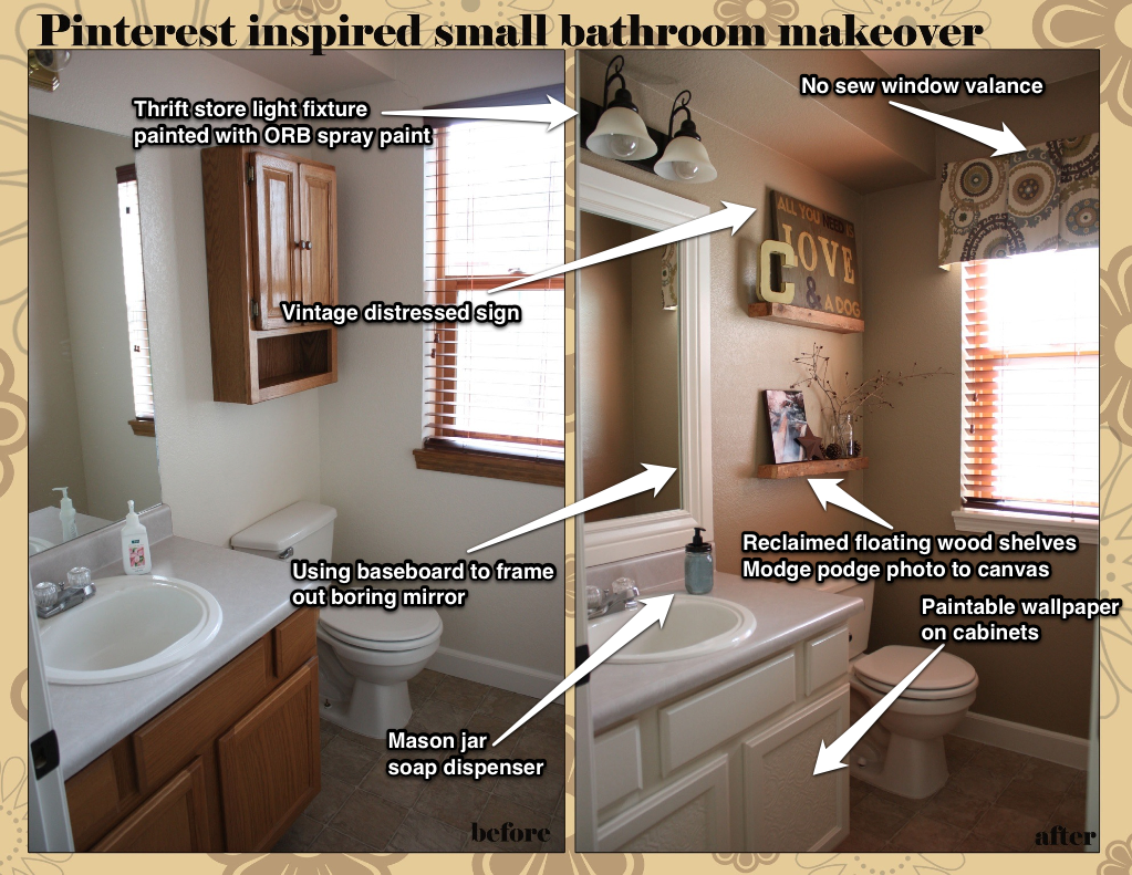 Before U0026 After! Low Cost Makeover On Our Half Bath Using Multiple Pinterest  Tutorials U0026