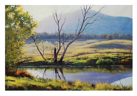 LARGE RIVER PAINTING commissioned tarana by GerckenGallery on Etsy, $249.00