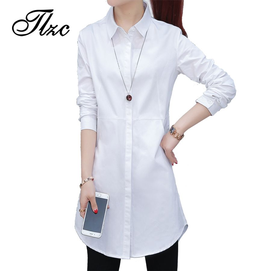 Tlzc elegant lady long cotton shirts white size sxxl korean style