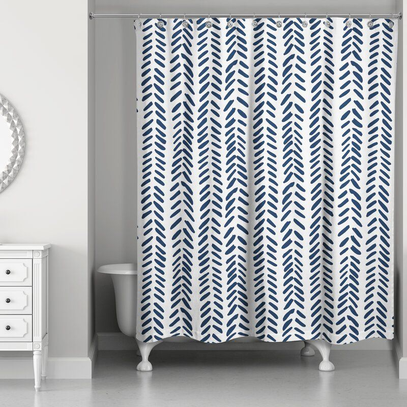 Ferrao Modern Herringbone Single Shower Curtain Modern Shower Curtains Navy Blue Shower Curtain Navy Shower Curtain