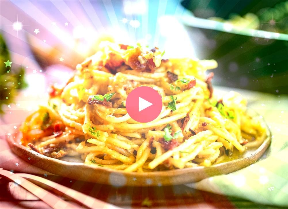noodles coated in a cheesy sauce and topped with bacon this dish is a hit with everyone and so easy to doSpaghetti noodles coated in a cheesy sauce and topped with bacon...