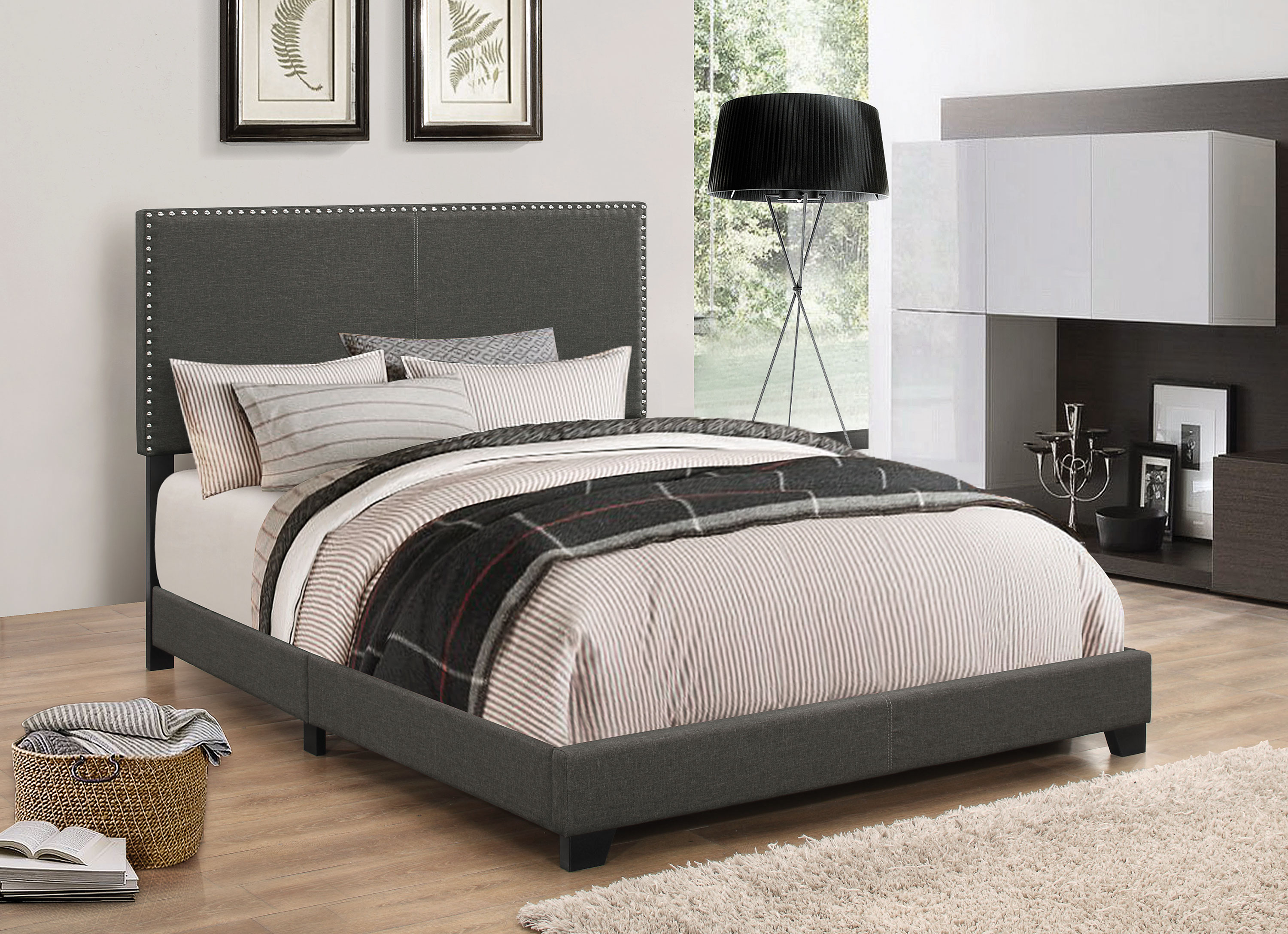 Coaster Company Boyd Upholstered California King Bed Charcoal