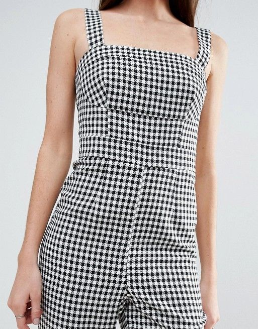 8ac851576ddf Gingham Print Jumpsuit With Structured Bodice