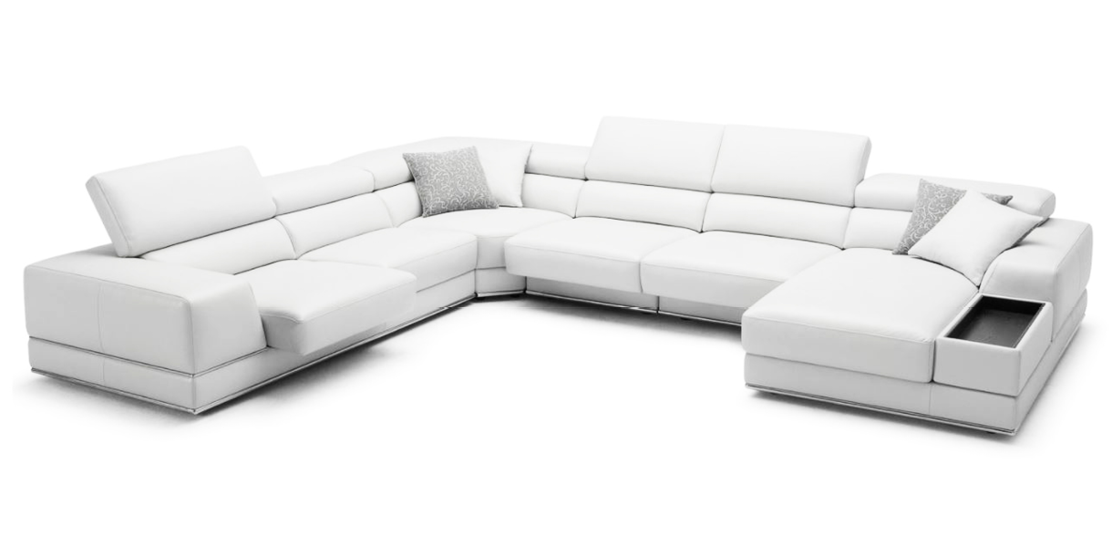 Bergamo Extended Sofa White Contemporary Modern Living Room Furniture Furniture Small Living Room Furniture