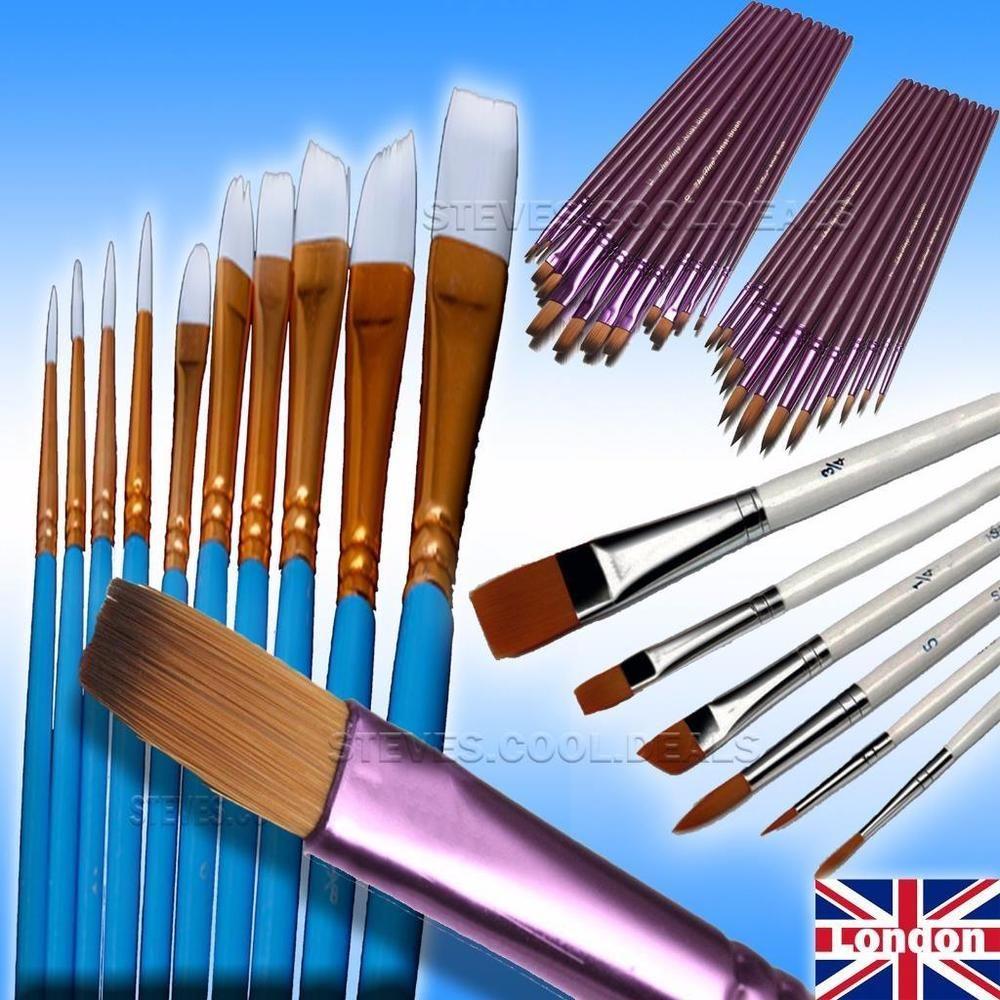Details about High Quality ART Paint Brush Sets 12pcs Flat