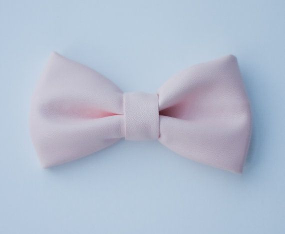 Pink Vegan Leather Bow Tie by KennedyandReese on Etsy