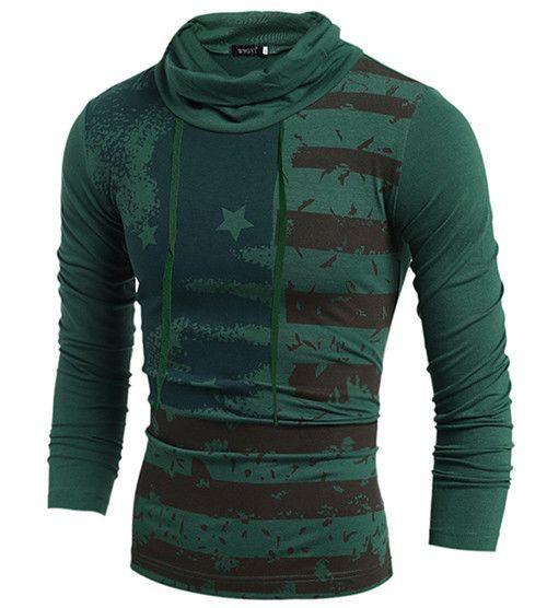 Men's Hoodies, hooded , Slim stripe Casual America flag pullover