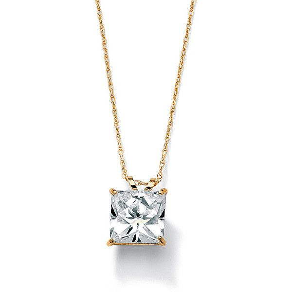 PalmBeach CZ 10k Gold Square Cubic Zirconia Solitaire Necklace Classic... ($69) ❤ liked on Polyvore