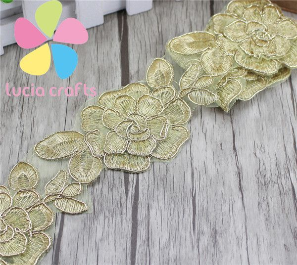6.5cm Handmade Patchwork Material Gold Embroidered Lace Ribbon DIY Sewing Lace Trim Headwear Accessories 1 yard 050025033