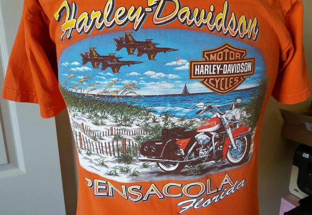 Harley Davidson Motorcycle Orange T Shirt Pensacola Fl Blue Angels