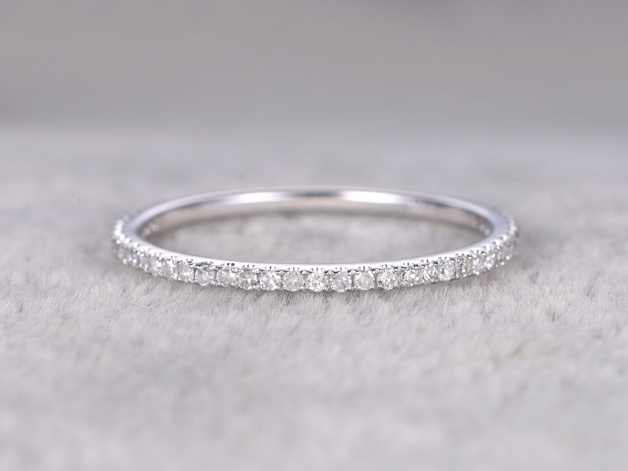 Diamond 3 4 Eternity Rings 14k White Gold Thin Micro Pave Wedding Band Stacking Ring