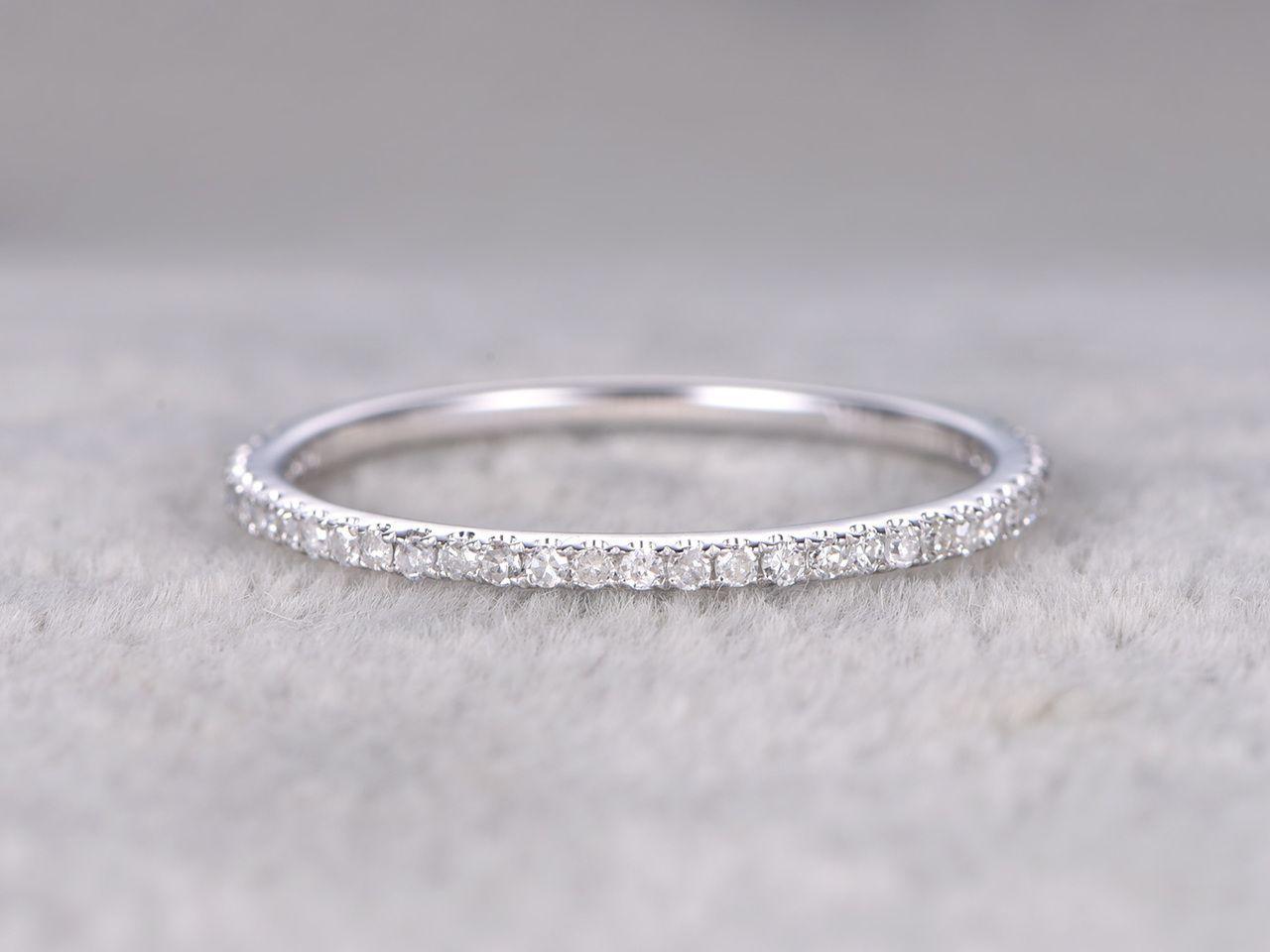 Diamond 3 4 Eternity Rings 14k White Gold Thin Micro Pave Wedding Band Stacking Ring Pave Wedding Bands Micro Pave Wedding Band Wedding Ring Bands