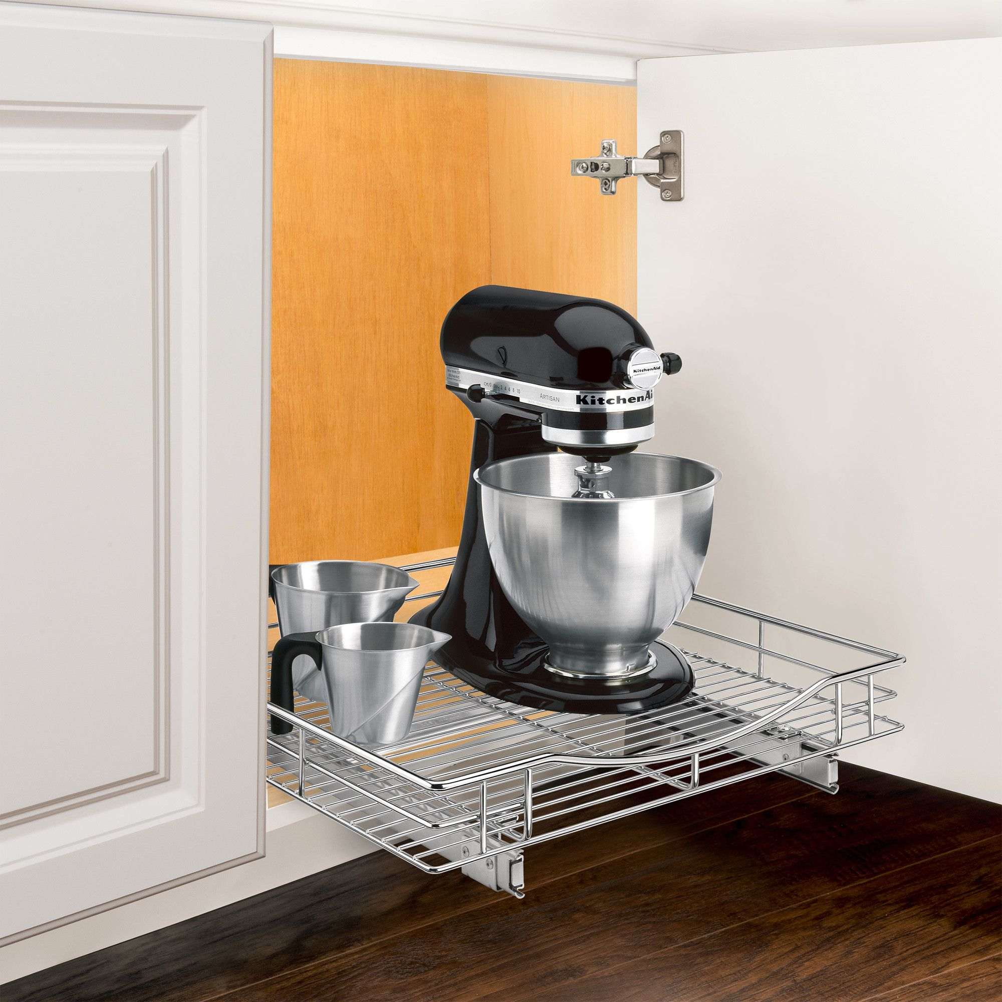Roll Out Cabinet Organizer   Pull Out Drawer   Under Cabinet Sliding Shelf    20 Inch Wide X 21 Inch Deep   Chrome
