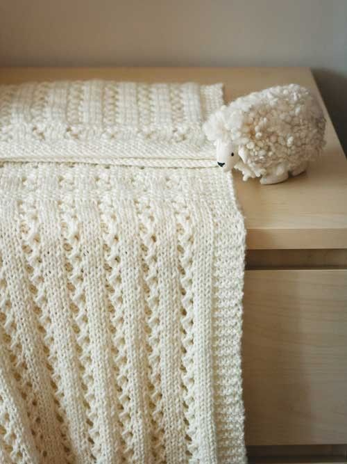 Easy baby blanket of stockinette and garter stitch with easy lace ...