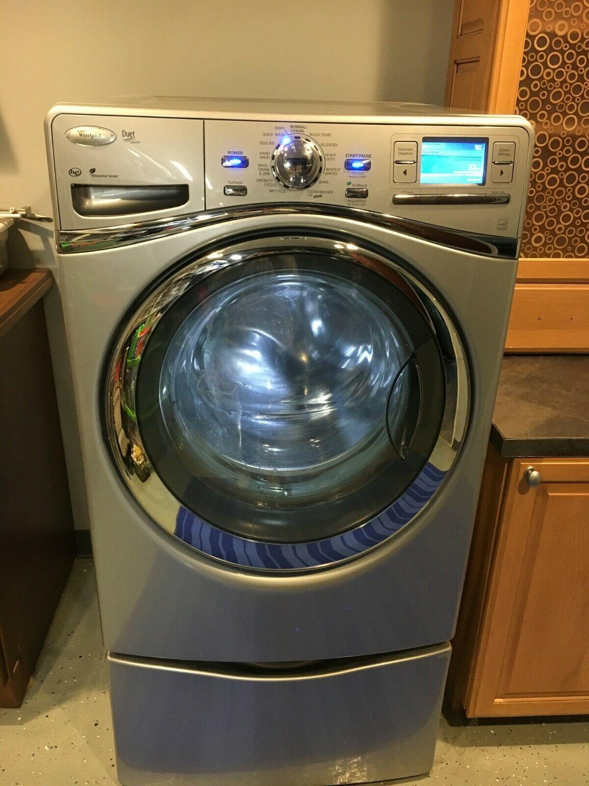 Whirlpool Duet Washer And Dryer W Pedestals Luna Silver