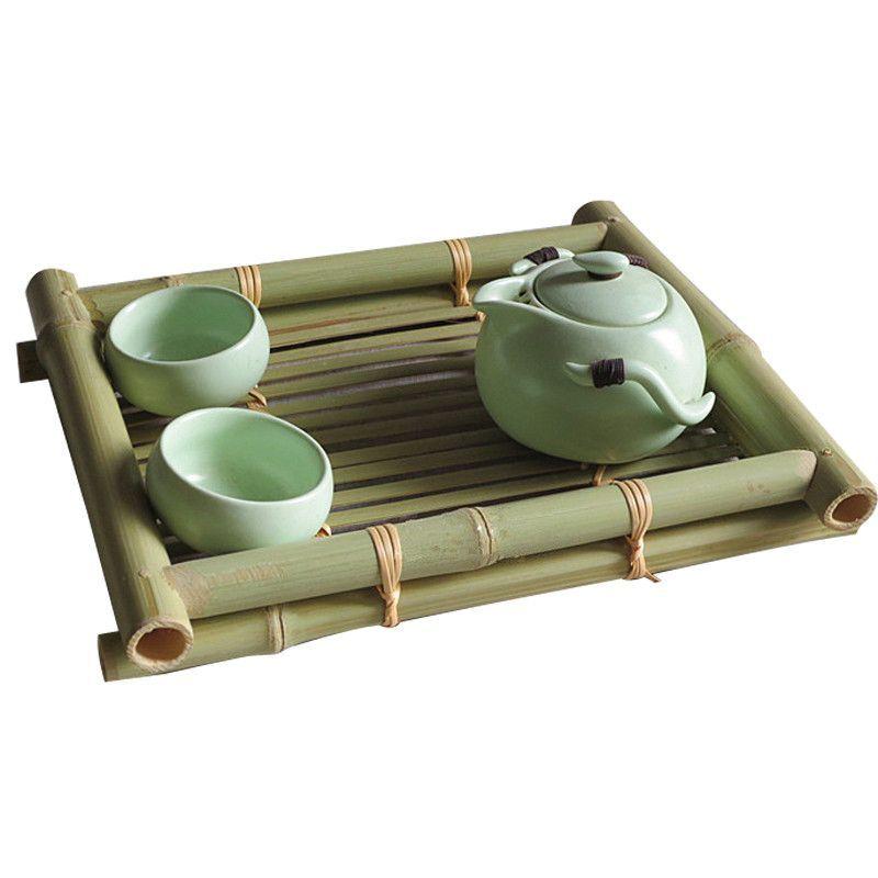 Bamboo Chinese Kung Fu Tea Tray D Water Storage Dish Set Service Saucer Vintage