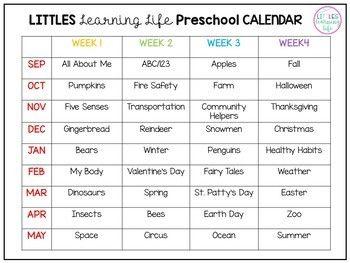 Preschool - Pre Kindergarten Yearly Calendar and Weekly Plans