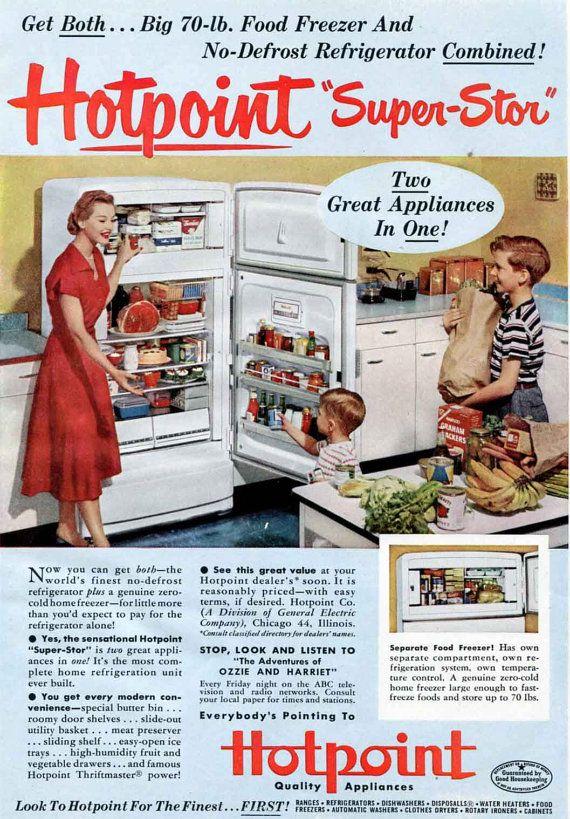1952 Hotpoint Refrigerator Freezer Ad   1950s Retro Kitchen Housewife