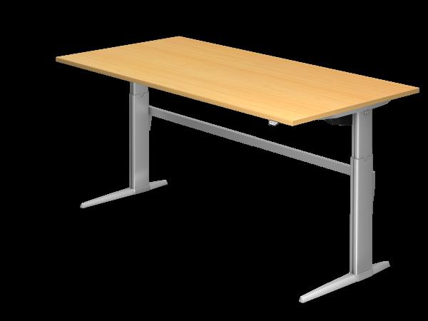 Sitz Steh Schreibtisch Elektrisch Xe2e 200x100cm Buche Gestellfarbe Silber Schreibtisch Tisch Elektrisch