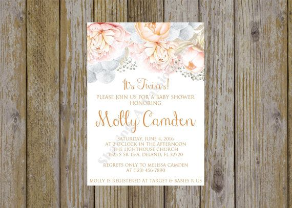 Watercolor Invitation  Floral Baby Shower by SharingAPassionINC