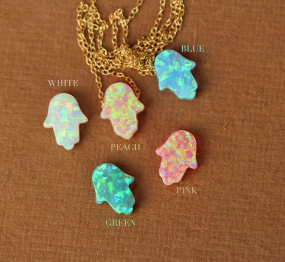 Hamsa necklace opal hamsa necklace good luck charm by BubuRuby, $30.00