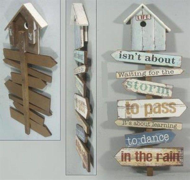 Leuk houten bord met steigerhouten planken met tekst en een vogelhuis boven leuk voor binnen en - Deco massief buiten ...
