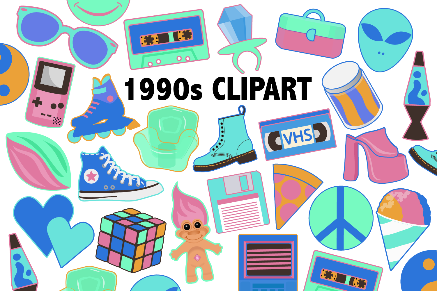 Neon 90s Clipart (Graphic) by Mine Eyes Design in 2020