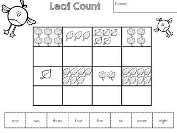 leaf count with number words part of the freebie autumn number revision worksheets tpt free. Black Bedroom Furniture Sets. Home Design Ideas