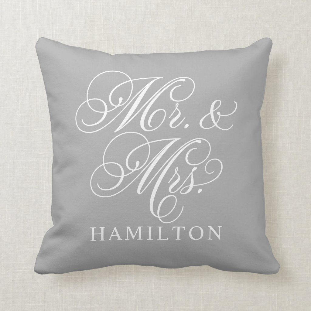 Mr. and Mrs. Script Married Monogram Gray Throw Pillow