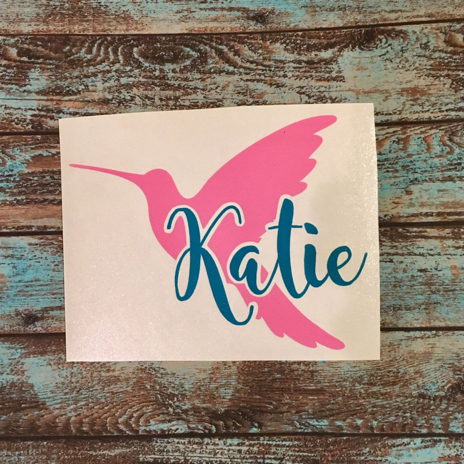Car sticker design name - Hummingbird Decal With Or Without Name 3 5 Yeti Corkcicle Rtic Car