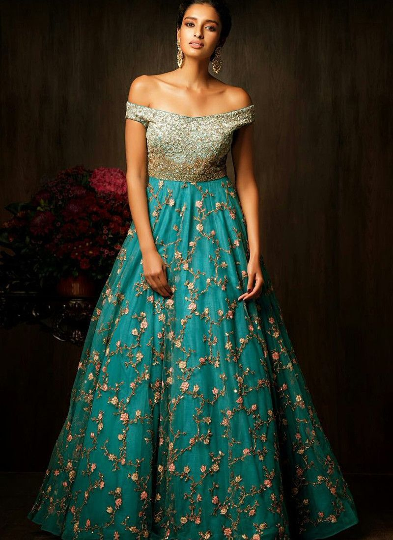 Turquoise Long flare Net & Silk Gown | lehengas | Pinterest | Silk ...