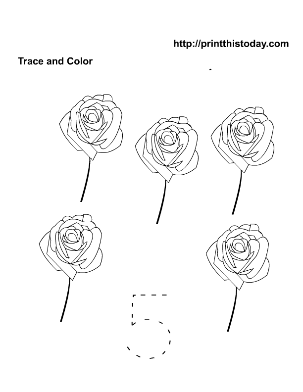 Trace And Color Number 5 Worksheet